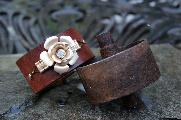Crystal Rose Leather Bracelet by ShopPrettyPatina on Etsy