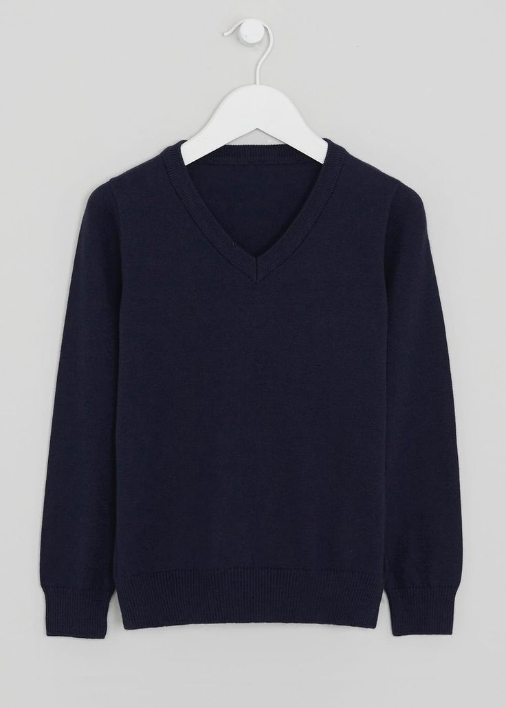 Boys navy long sleeve knitted v-neck school jumper in a new and improved knit. Perfect for school uniform and available in other colours.