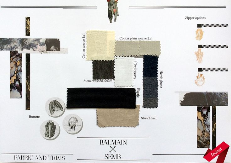 Fabrics- and Palette-Board for an 'Anatomy' theme created in Adobe Photoshop [2nd Year 2015]