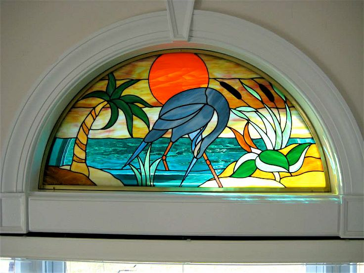 Half Moon Transom Egret Stained Glass Quilt Stained