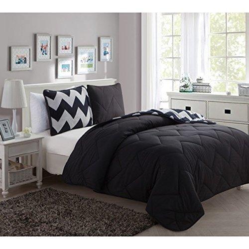 3 Piece Full Kids Black Polyester Romantic Comforter Set Chevron Pattern Bedding Zig Zag V Shaped Lines Jagged Stylish Geometric Boho Chic Indie