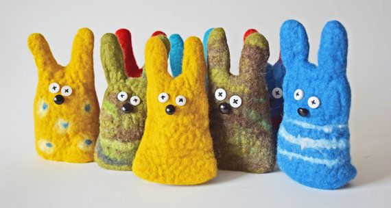 handmade felted finger puppet - bunny polka dots, striped, hunter pattern