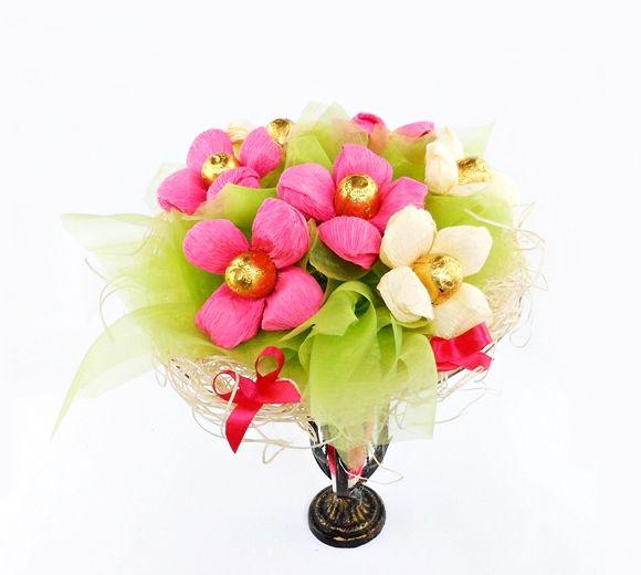 Oryginalny Bukiet z cukierków Kwiaty z Krepiny