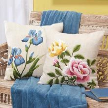 Roses & Iris Pillow Covers, Set of 2 Kits, Stamped for Embroidery - Herrschners