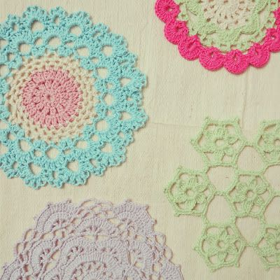 ByHaafner, crochet, doily, pastel, Japanese crochet patterns doilies for bowls