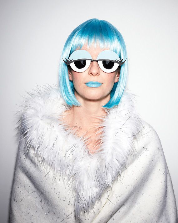 Print our clip art for cartoon eyes onto card stock. Cut out; stick to round lenses with double-sided tape. Complete the look with a blue wig and lipstick and a furry stole.