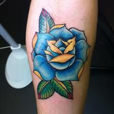 traditional blue yellow rose | Blue rose tattoos, Rose ...