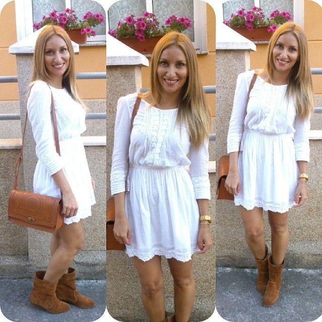Que disfruteis del finde!!!!me encanta cuando ya se pueden poner vestidos y faldas con bota y pierna al aire :-)#outfit #lookoftheday #instalook #streetstyle #vestido #botas#stradivarius #old#bolso #new#primark