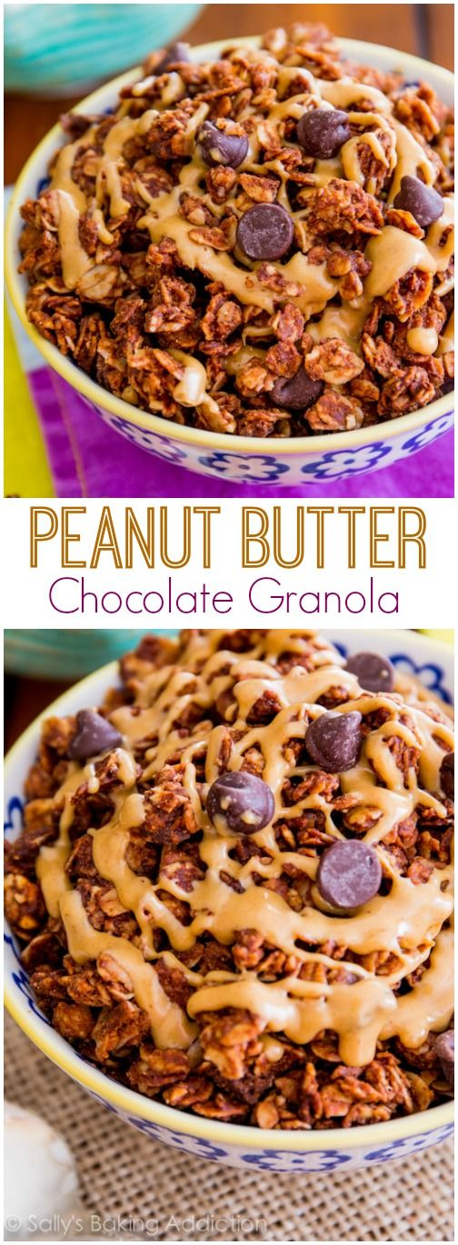 Only 7 ingredients! This chocolate peanut butter granola is so simple.