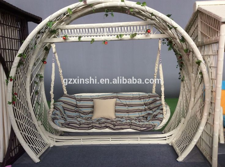 White Rattan Patio Garden Swing Chair With Canopy / Cheap Rattan ...
