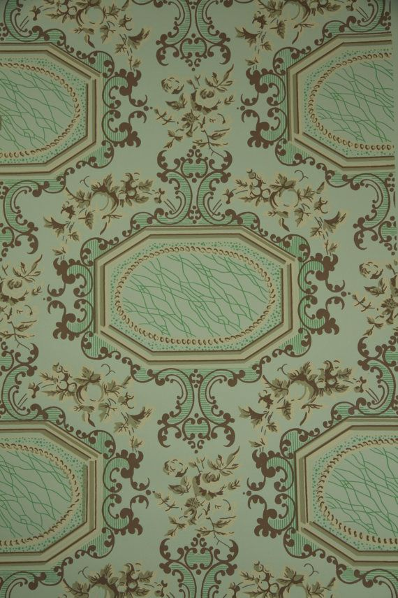1950 39 s vintage wallpaper victorian roses and by - Late victorian wallpaper ...