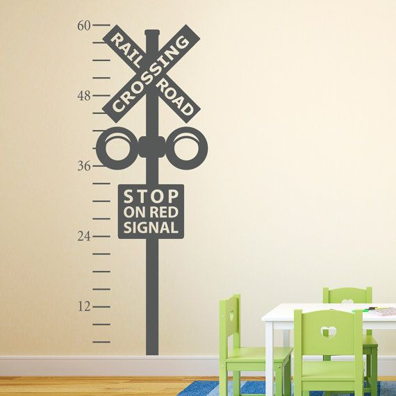 Railroad Crossing Growth Chart Decal - Train Crossing Wall Decal - Train Wall Art on Etsy, $40.00
