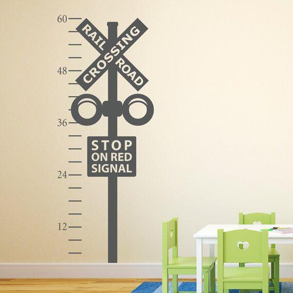 Railroad Crossing Growth Chart Decal - Train Crossing Wall Decal - Train Wall Art on Etsy, $40.00