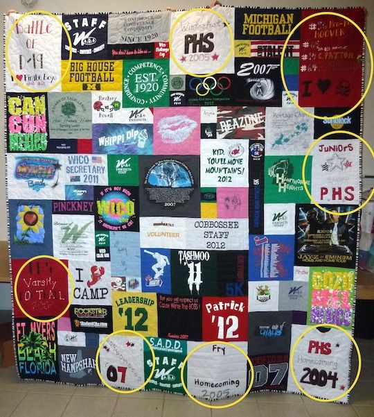 quilt from t shirts | Using Homemade T-shirts in your T-shirt Quilt