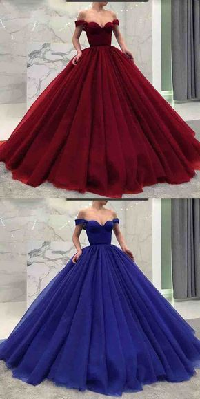 Fashionable poofy ball gown off the shoulder prom dresses