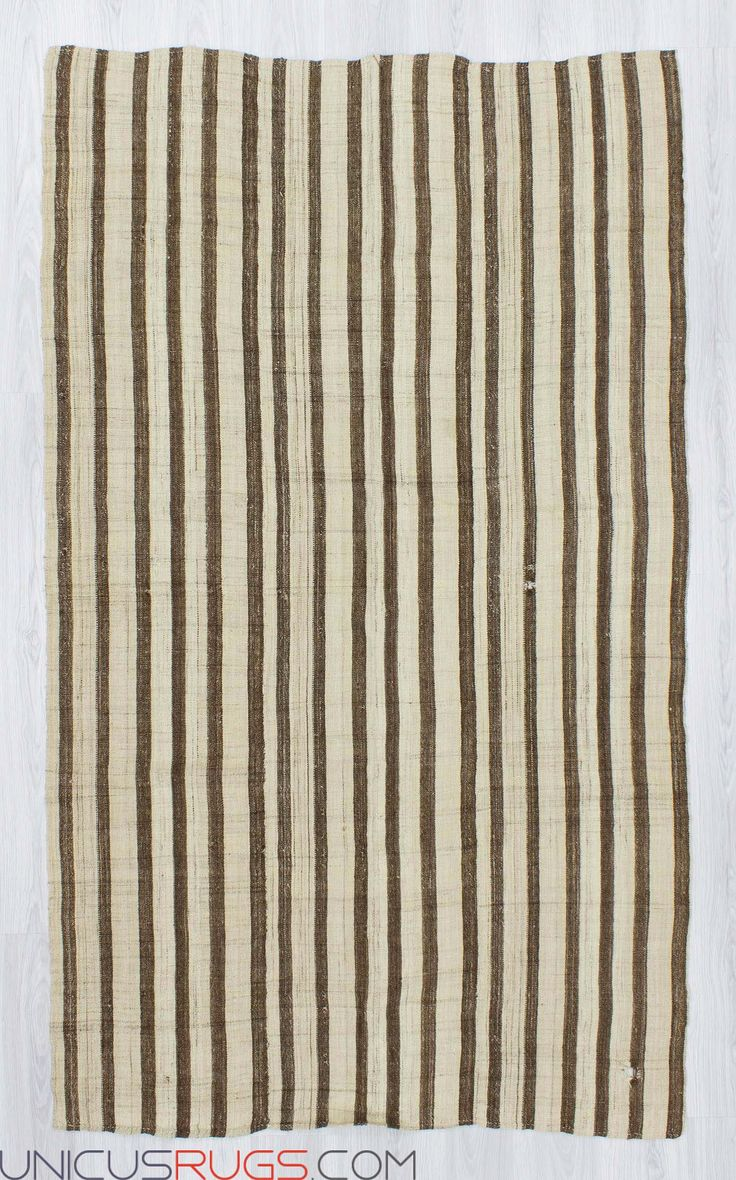 """Vintage striped kilim rug from Malatya region of Turkey.İn good condition.Approximately 50-60 years old Width: 4' 9"""" - Length: 7' 11"""" Striped Kilims"""