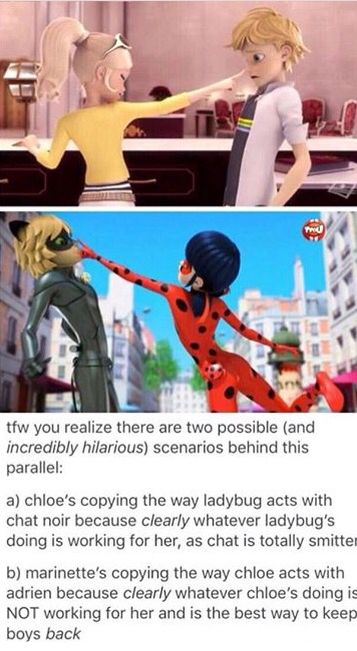And this might make adrien think ladybug is chloe (oh no!)
