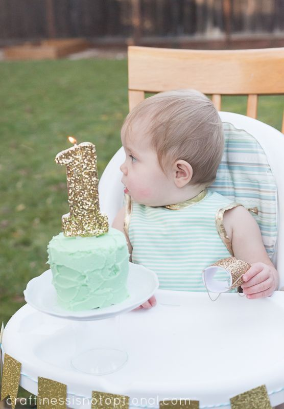 Gorgeous Over-sized number 1 glitter candle - love this. Little Deer First Birthday Party