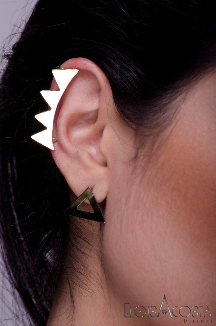 Ear Cuff Rock On , Topitos Geo Todos en Bronce