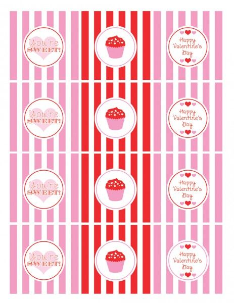 "Once again we're the luckiest site in the world! Katie from Green Apple Paperie designed this adorable ""cupcake"" collection of FREE Valentine's Day party printables just for us.    The collection includes: party circles, favor tags, candy bar wrappers, mini candy bar wrappers, food tents, and a ""Be Mine"" banner. They are so sweet, I could just eat them!"