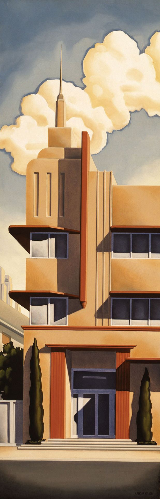 Kenton Nelson, Mr. Bird's Request, oil on panel, 36 x 12 inches, 1996