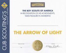 arrow of light certificate boy scouts pinterest