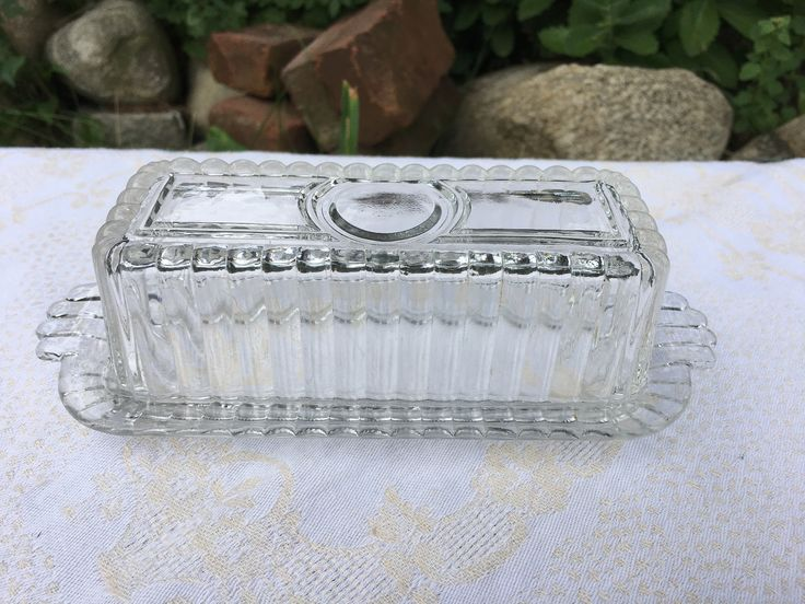 Vintage 1940s Glass Butter Dish or Butter Keeper, Cottage Kitchen, Rustic Decor, Farmhouse Style, Vintage Buffet by EmmasHeritage on Etsy https://www.etsy.com/listing/525525466/vintage-1940s-glass-butter-dish-or