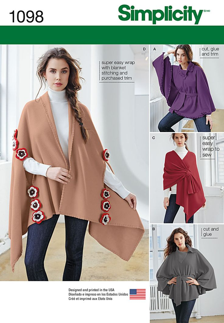 Simplicity Creative Group - Misses' Fleece Ponchos and Wraps- The featured View D doesn't look as if there's much cutting involved. With the right sweater knit, the blanket stitch edge might work.
