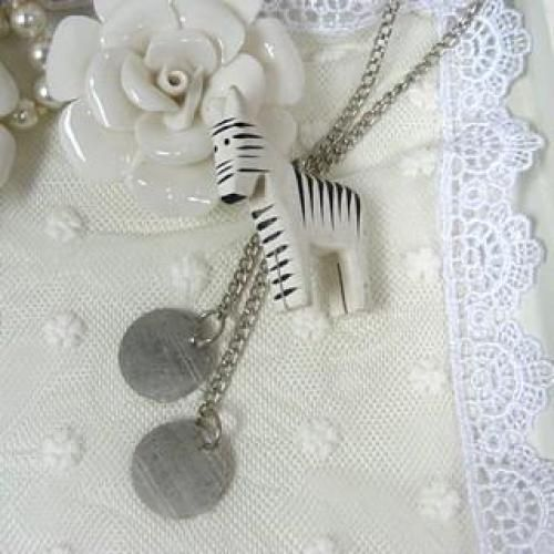 Zebra Pendant Long Necklace Silver - One Size