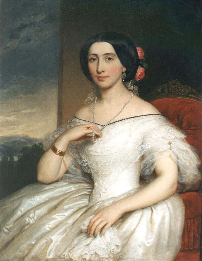 Portrait of Mrs. János Matta  by Miklós Barabás