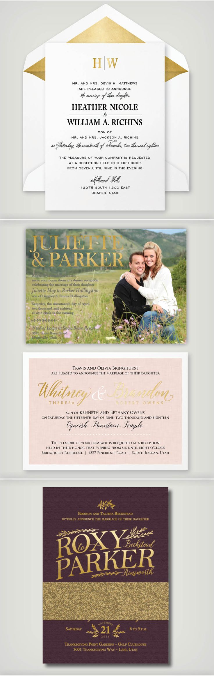 custom wedding invitations nashville%0A Foil Wedding Invitations styled any way you u    d like  An elegant look that is  truly timeless  Click on the link for pricing information  foil wedding
