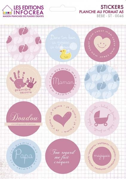 STICKERS BEBE ROND  badge  Pinterest
