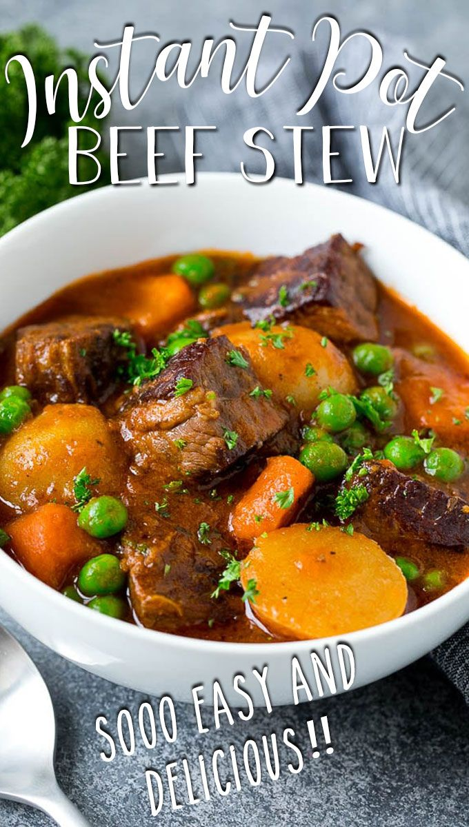 This Instant Pot Beef Stew Is Tender Meat Combined With Carrots Potatoes And Peas In A Rich And Savory B In 2020 Beef Stew Dinner Pot Recipes Soup Recipes Slow Cooker