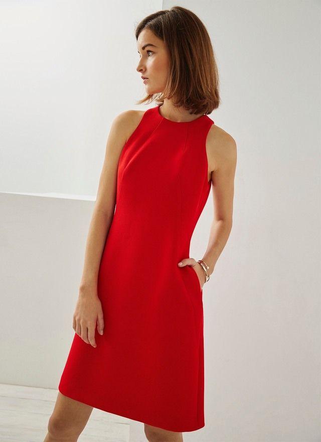 Vestido rojo de piqué - Vestidos | Adolfo Dominguez shop online