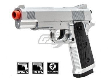 CYMA 1911 Tactical Chrome Metal Spring Pistol Airsoft Gun ( Silver )