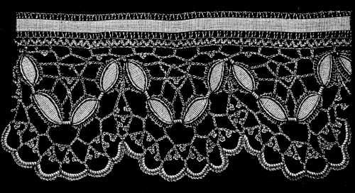 FIG. 466. CROCHET LACE MADE WITH LEAF BRAID.