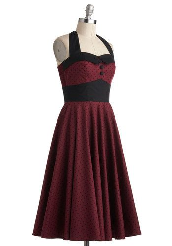 Super in love with this fit and flare halter.  I feel like the shirring at the sides will give it a perfect fit and the halter neck line is very flattering.  Great as is for summer or with tights, flats and a cardi for fall. Pretty perfect. #ModCloth