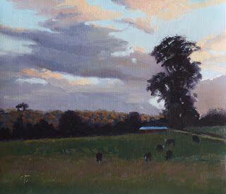 "Pastoral Sunset, Raglan Street by Charmaine P Jackson Oil on 6""x7"" linen"
