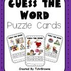 Great literacy activity for those early finishers! Guess the Word Puzzle Cards $