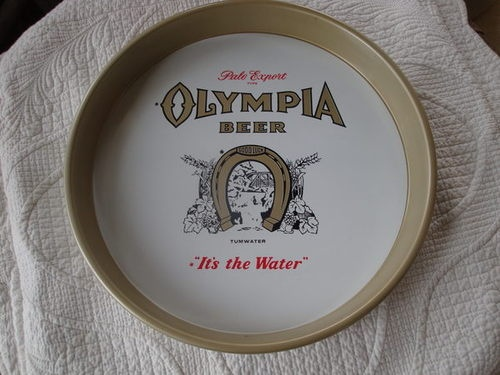 VINTAGE ORIGINAL METAL OLYMPIA BEER SERVING PUB ADVERTISING TRAY