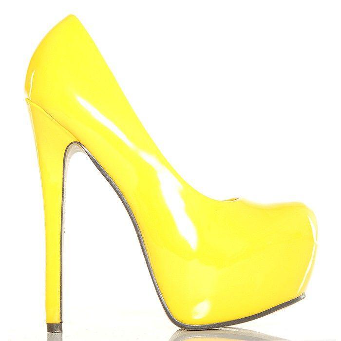 Czółenka - Żółte Neonowe Lakierowane Platformy - www.BUU.pl