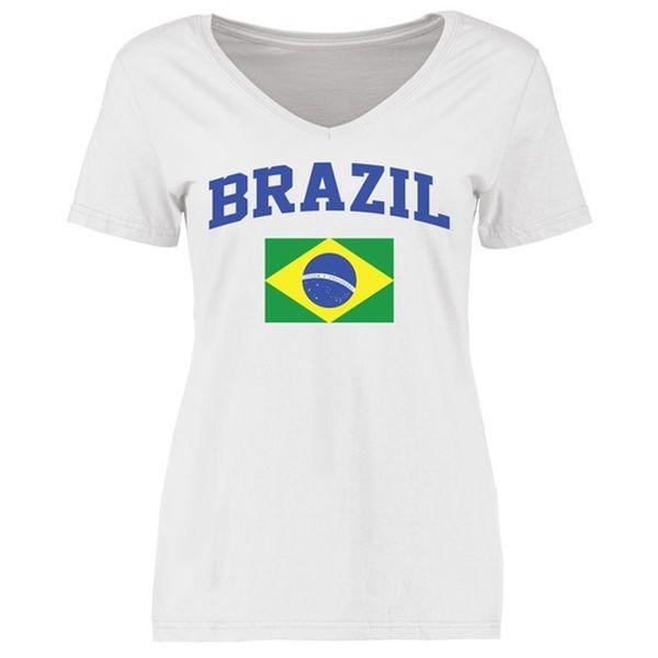 Brazil Women's Flag Slim Fit T-Shirt - White - $21.99