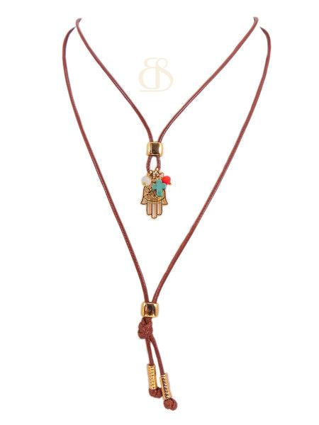 Colar Wyllie, colar cordão e pingente de hansa estilo boho verão 2016