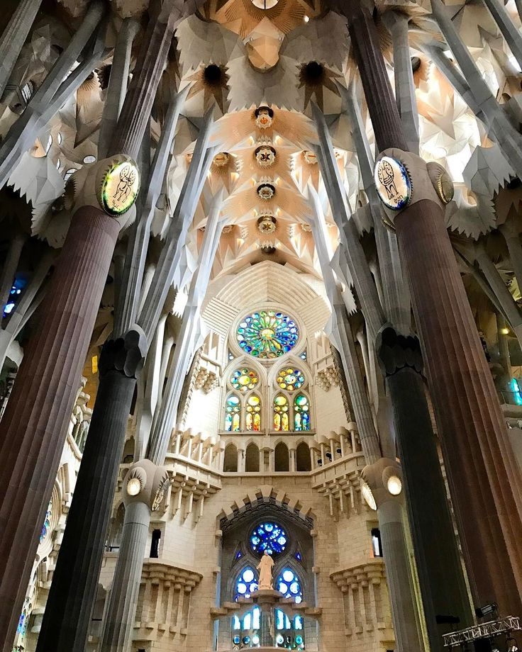 """37 Likes, 1 Comments - Winston Lim (@vwinstonn) on Instagram: """"The columns inside the Sagrada Familia cathedral in Barcelona, are tilted & look like tree trunks &…"""""""
