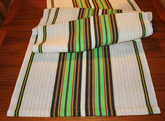 Stylish vintage retro woven long Table runner. White and beige