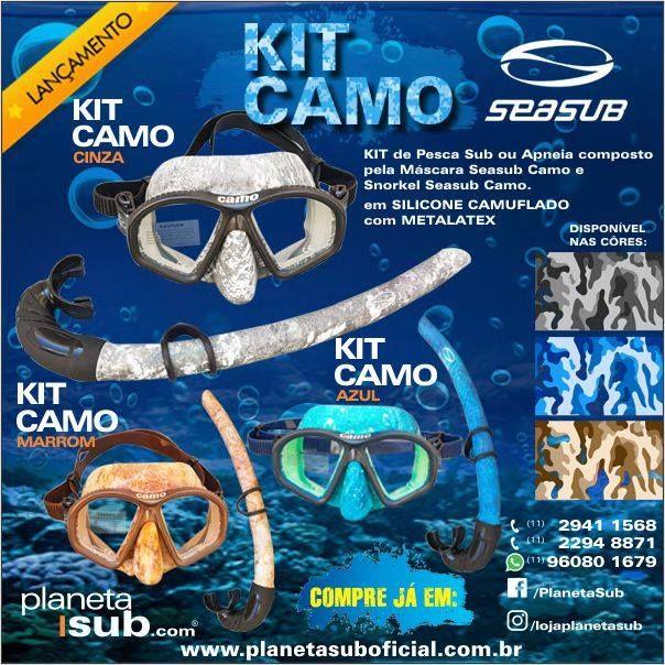 KIT MERGULHO APNEIA E PESCA SUB CAMO - SEASUB Este conjunto de Pesca Sub ou  Apneia 6bc461a4e0c