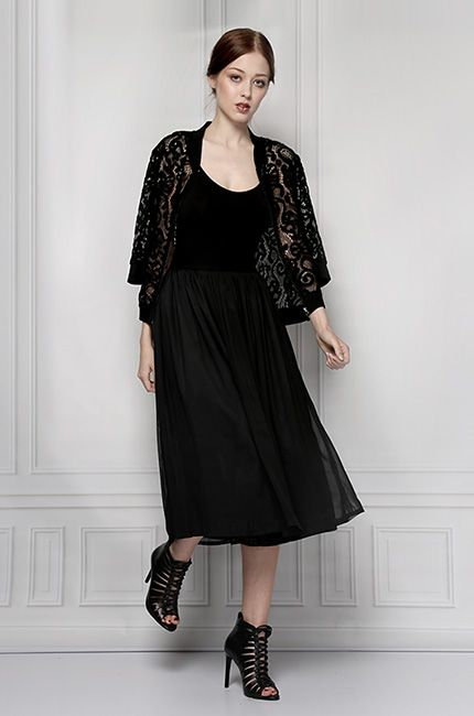 black midi shirt and lace blouse furelle