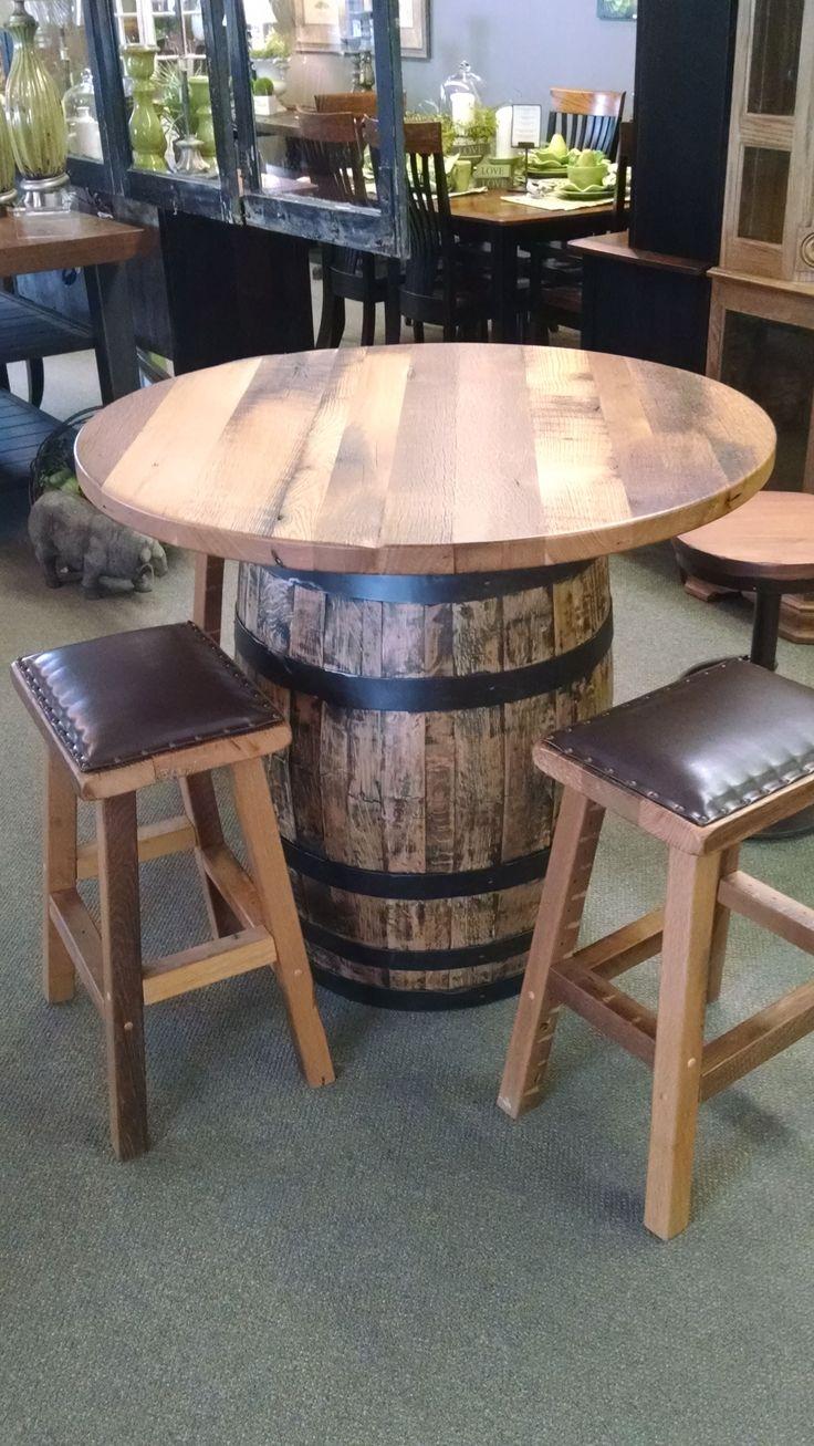 Shop custom wine barrel furniture tables and sets wine barrel - Custom Made Barrel Pub Table Wine