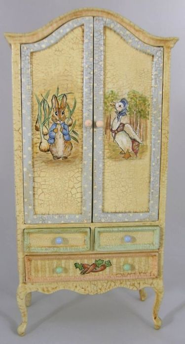 Peter Rabbit nursery armoire, by Cynthia Howe. I:12 scale