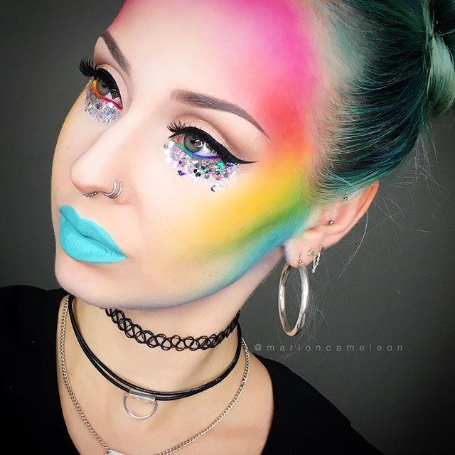 """WEBSTA @ marioncameleon -  4th DAY of the challenge Week on snapchat ! """"Rainbow Dash"""" themed makeup ! Put a  if you watched it !  4eme JOUR de la challenge week sur snapchat ! Le défi était """"Rainbow Dash"""" ! Mettez un  si vous l'avez vu !_________FACE : Flash Palette @makeupforeverofficial WATERLINE : Red Velvet / Squash / Alien @limecrimemakeup"""